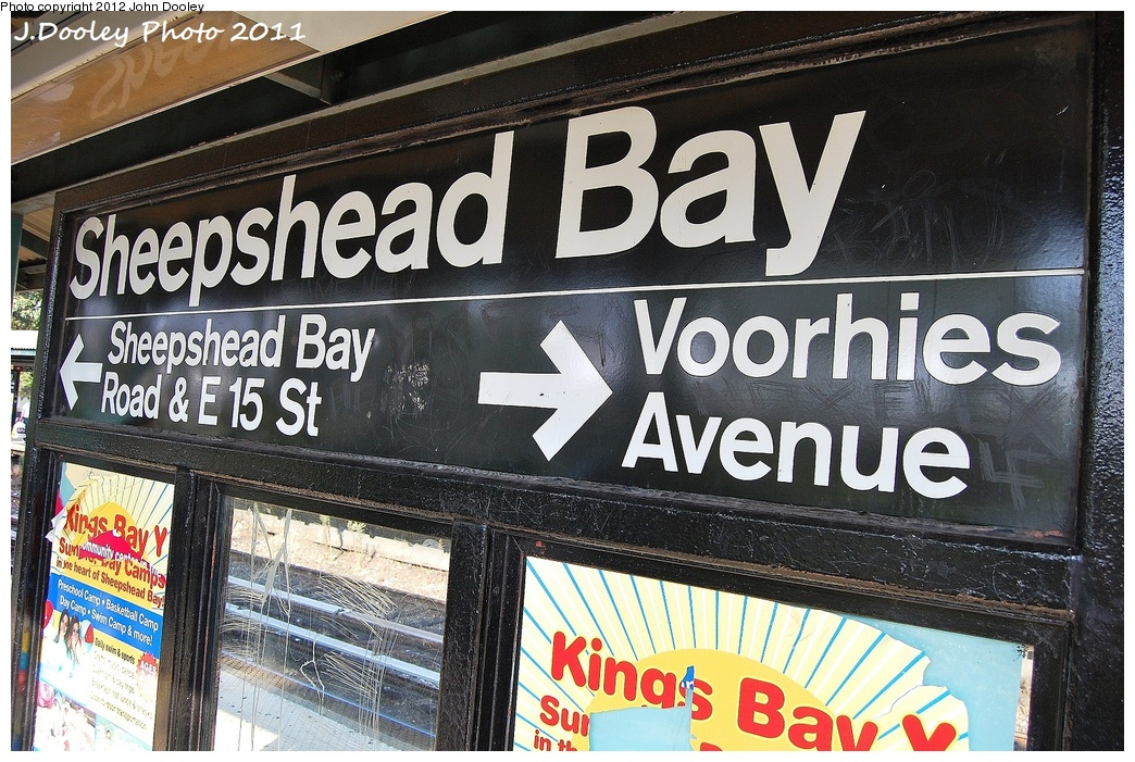 (425k, 1044x701)<br><b>Country:</b> United States<br><b>City:</b> New York<br><b>System:</b> New York City Transit<br><b>Line:</b> BMT Brighton Line<br><b>Location:</b> Sheepshead Bay<br><b>Photo by:</b> John Dooley<br><b>Date:</b> 9/12/2011<br><b>Notes:</b> Signage on platform.<br><b>Viewed (this week/total):</b> 0 / 991