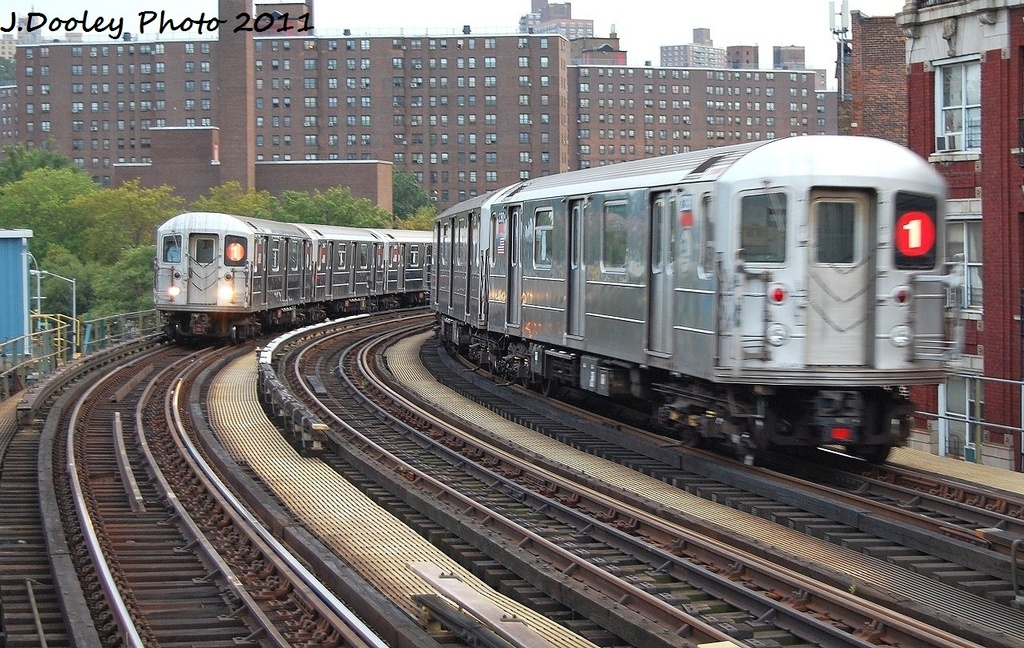 (409k, 1024x648)<br><b>Country:</b> United States<br><b>City:</b> New York<br><b>System:</b> New York City Transit<br><b>Line:</b> IRT West Side Line<br><b>Location:</b> 207th Street<br><b>Route:</b> 1<br><b>Car:</b> R-62A (Bombardier, 1984-1987) 2366 <br><b>Photo by:</b> John Dooley<br><b>Date:</b> 9/22/2011<br><b>Viewed (this week/total):</b> 1 / 1425