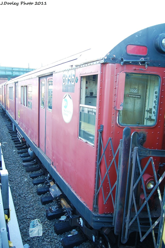 (318k, 681x1024)<br><b>Country:</b> United States<br><b>City:</b> New York<br><b>System:</b> New York City Transit<br><b>Location:</b> 239th Street Yard<br><b>Car:</b> R-33 Main Line (St. Louis, 1962-63) 8996 <br><b>Photo by:</b> John Dooley<br><b>Date:</b> 12/8/2011<br><b>Viewed (this week/total):</b> 1 / 1669