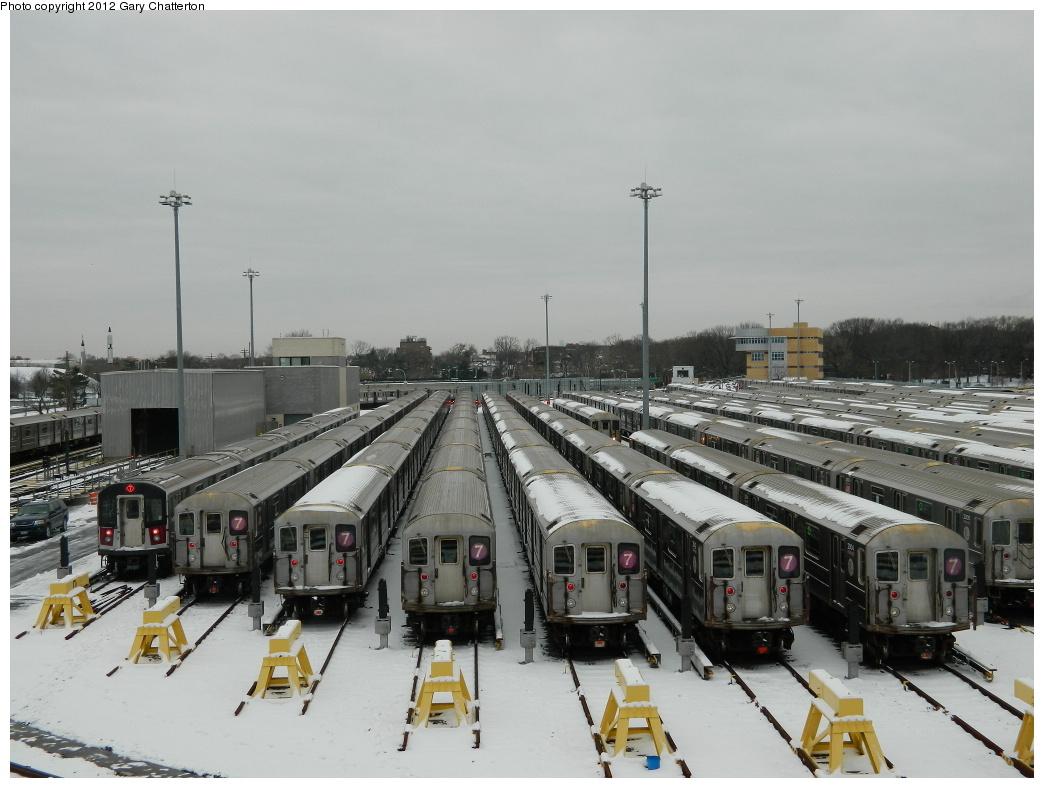 (284k, 1044x788)<br><b>Country:</b> United States<br><b>City:</b> New York<br><b>System:</b> New York City Transit<br><b>Location:</b> Corona Yard<br><b>Car:</b> R-62A (Bombardier, 1984-1987)  <br><b>Photo by:</b> Gary Chatterton<br><b>Date:</b> 1/22/2012<br><b>Viewed (this week/total):</b> 1 / 1503