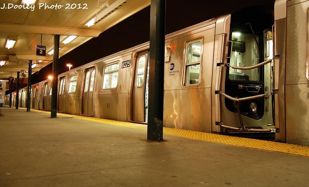 (310k, 1024x621)<br><b>Country:</b> United States<br><b>City:</b> New York<br><b>System:</b> New York City Transit<br><b>Line:</b> BMT Canarsie Line<br><b>Location:</b> Rockaway Parkway<br><b>Route:</b> L<br><b>Car:</b> R-143 (Kawasaki, 2001-2002) 8225 <br><b>Photo by:</b> John Dooley<br><b>Date:</b> 1/15/2012<br><b>Viewed (this week/total):</b> 1 / 1361