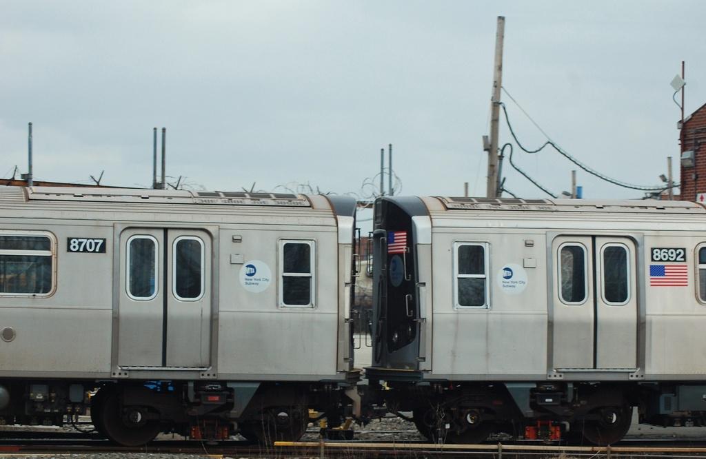 (222k, 1024x666)<br><b>Country:</b> United States<br><b>City:</b> New York<br><b>System:</b> New York City Transit<br><b>Location:</b> Coney Island Yard<br><b>Car:</b> R-160A-2 (Alstom, 2005-2008, 5 car sets) 8707/8692 <br><b>Photo by:</b> John Dooley<br><b>Date:</b> 1/14/2012<br><b>Viewed (this week/total):</b> 1 / 860
