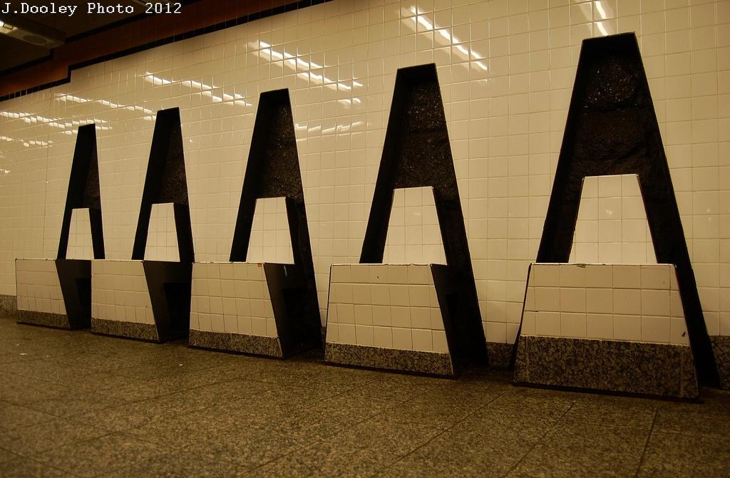 (297k, 1024x671)<br><b>Country:</b> United States<br><b>City:</b> New York<br><b>System:</b> New York City Transit<br><b>Line:</b> IND Concourse Line<br><b>Location:</b> 161st Street-River Avenue (Yankee Stadium)<br><b>Photo by:</b> John Dooley<br><b>Date:</b> 3/31/2012<br><b>Artwork:</b> <i>Wall-Slide/Room of Tranquility</i>, Acconci/Brandt, 2002<br><b>Viewed (this week/total):</b> 1 / 2295