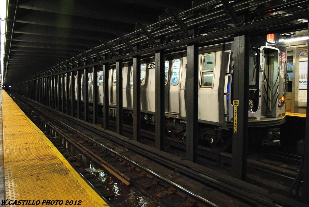 (305k, 1024x687)<br><b>Country:</b> United States<br><b>City:</b> New York<br><b>System:</b> New York City Transit<br><b>Line:</b> BMT Canarsie Line<br><b>Location:</b> Graham Avenue<br><b>Route:</b> L<br><b>Car:</b> R-160A-1 (Alstom, 2005-2008, 4 car sets) 8345 <br><b>Photo by:</b> Wilfredo Castillo<br><b>Date:</b> 4/27/2012<br><b>Viewed (this week/total):</b> 2 / 1729