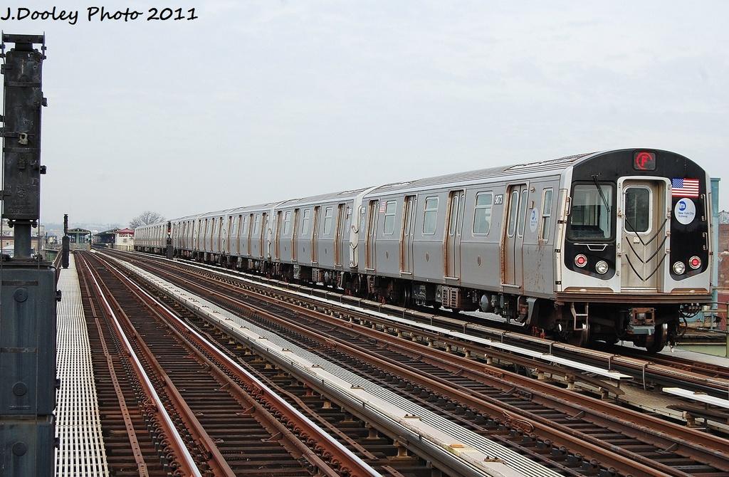 (347k, 1024x670)<br><b>Country:</b> United States<br><b>City:</b> New York<br><b>System:</b> New York City Transit<br><b>Line:</b> BMT Culver Line<br><b>Location:</b> Avenue I<br><b>Route:</b> F<br><b>Car:</b> R-160B (Option 2) (Kawasaki, 2009) 9873 <br><b>Photo by:</b> John Dooley<br><b>Date:</b> 12/5/2011<br><b>Viewed (this week/total):</b> 0 / 1424