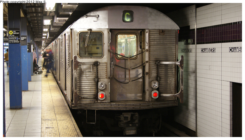 (198k, 820x470)<br><b>Country:</b> United States<br><b>City:</b> New York<br><b>System:</b> New York City Transit<br><b>Line:</b> IND 8th Avenue Line<br><b>Location:</b> Chambers Street/World Trade Center<br><b>Route:</b> C<br><b>Car:</b> R-32 (Budd, 1964)  <br><b>Photo by:</b> Max S.<br><b>Date:</b> 5/5/2012<br><b>Viewed (this week/total):</b> 2 / 1477