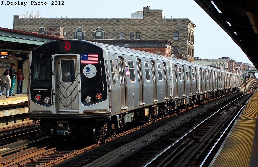 (370k, 1024x665)<br><b>Country:</b> United States<br><b>City:</b> New York<br><b>System:</b> New York City Transit<br><b>Line:</b> BMT Nassau Street-Jamaica Line<br><b>Location:</b> Flushing Avenue<br><b>Route:</b> J<br><b>Car:</b> R-160A-1 (Alstom, 2005-2008, 4 car sets) 8321 <br><b>Photo by:</b> John Dooley<br><b>Date:</b> 3/23/2012<br><b>Viewed (this week/total):</b> 1 / 1316