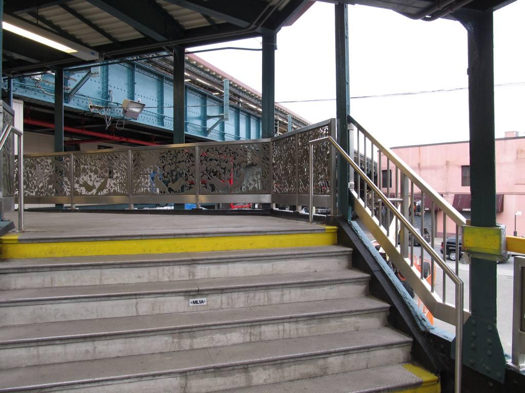 (125k, 1024x768)<br><b>Country:</b> United States<br><b>City:</b> New York<br><b>System:</b> New York City Transit<br><b>Line:</b> BMT West End Line<br><b>Location:</b> 62nd Street<br><b>Photo by:</b> Robbie Rosenfeld<br><b>Date:</b> 6/11/2012<br><b>Artwork:</b> <i>Nature Rail</i>, Andrea Deszö, 2012<br><b>Notes:</b> Note art in stair railings.<br><b>Viewed (this week/total):</b> 6 / 2191