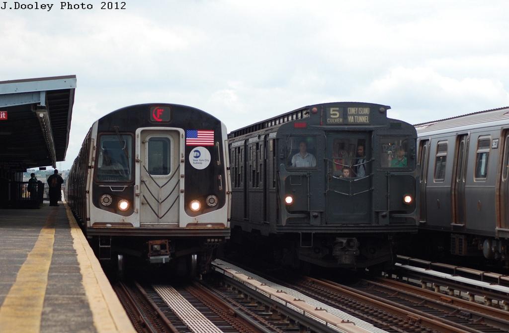 (242k, 1024x671)<br><b>Country:</b> United States<br><b>City:</b> New York<br><b>System:</b> New York City Transit<br><b>Line:</b> BMT Culver Line<br><b>Location:</b> Bay Parkway (22nd Avenue)<br><b>Route:</b> Transit Museum Nostalgia Train<br><b>Car:</b> R-9 (Pressed Steel, 1940) 1802 <br><b>Photo by:</b> John Dooley<br><b>Date:</b> 7/29/2012<br><b>Viewed (this week/total):</b> 0 / 1749