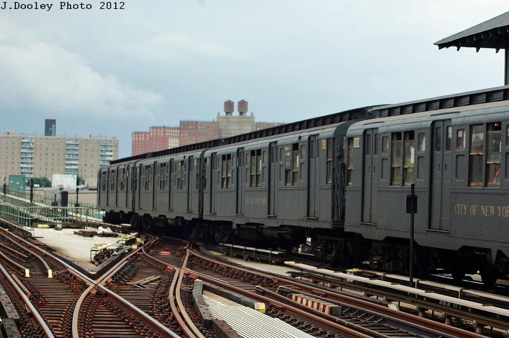 (310k, 1024x680)<br><b>Country:</b> United States<br><b>City:</b> New York<br><b>System:</b> New York City Transit<br><b>Line:</b> BMT Culver Line<br><b>Location:</b> Avenue X<br><b>Route:</b> Transit Museum Nostalgia Train<br><b>Car:</b> R-1 (American Car & Foundry, 1930-1931) 381 <br><b>Photo by:</b> John Dooley<br><b>Date:</b> 7/29/2012<br><b>Viewed (this week/total):</b> 1 / 1442