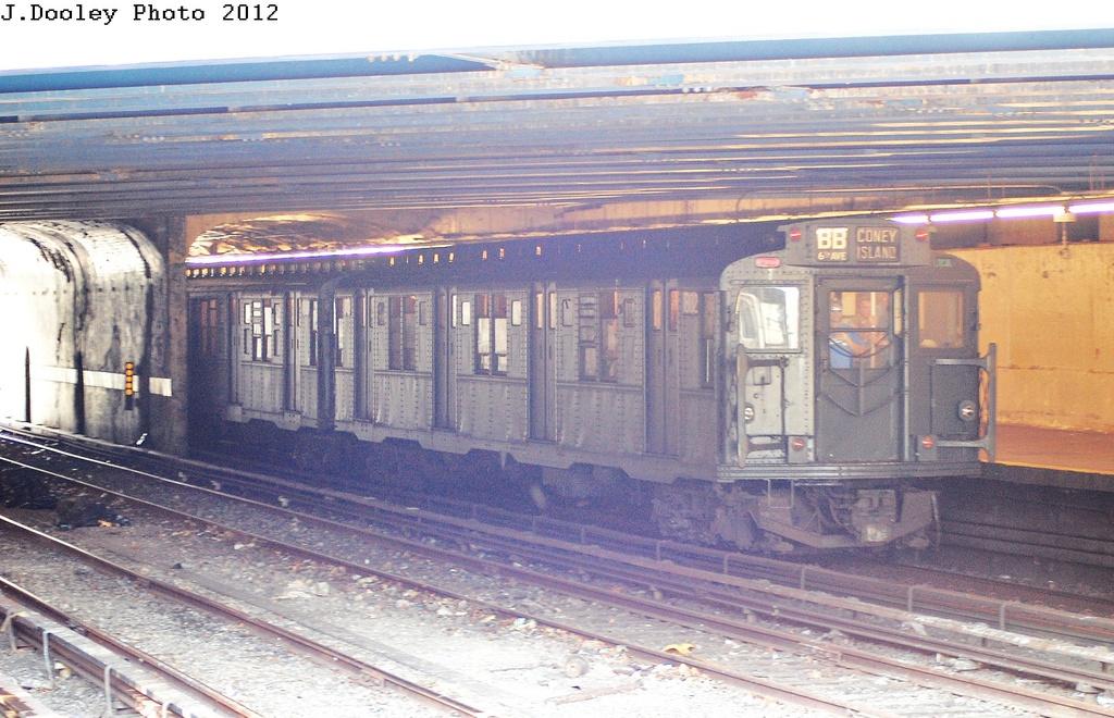 (351k, 1024x660)<br><b>Country:</b> United States<br><b>City:</b> New York<br><b>System:</b> New York City Transit<br><b>Line:</b> BMT Sea Beach Line<br><b>Location:</b> 86th Street<br><b>Route:</b> Transit Museum Nostalgia Train<br><b>Car:</b> R-9 (Pressed Steel, 1940) 1802 <br><b>Photo by:</b> John Dooley<br><b>Date:</b> 7/29/2012<br><b>Viewed (this week/total):</b> 0 / 1842
