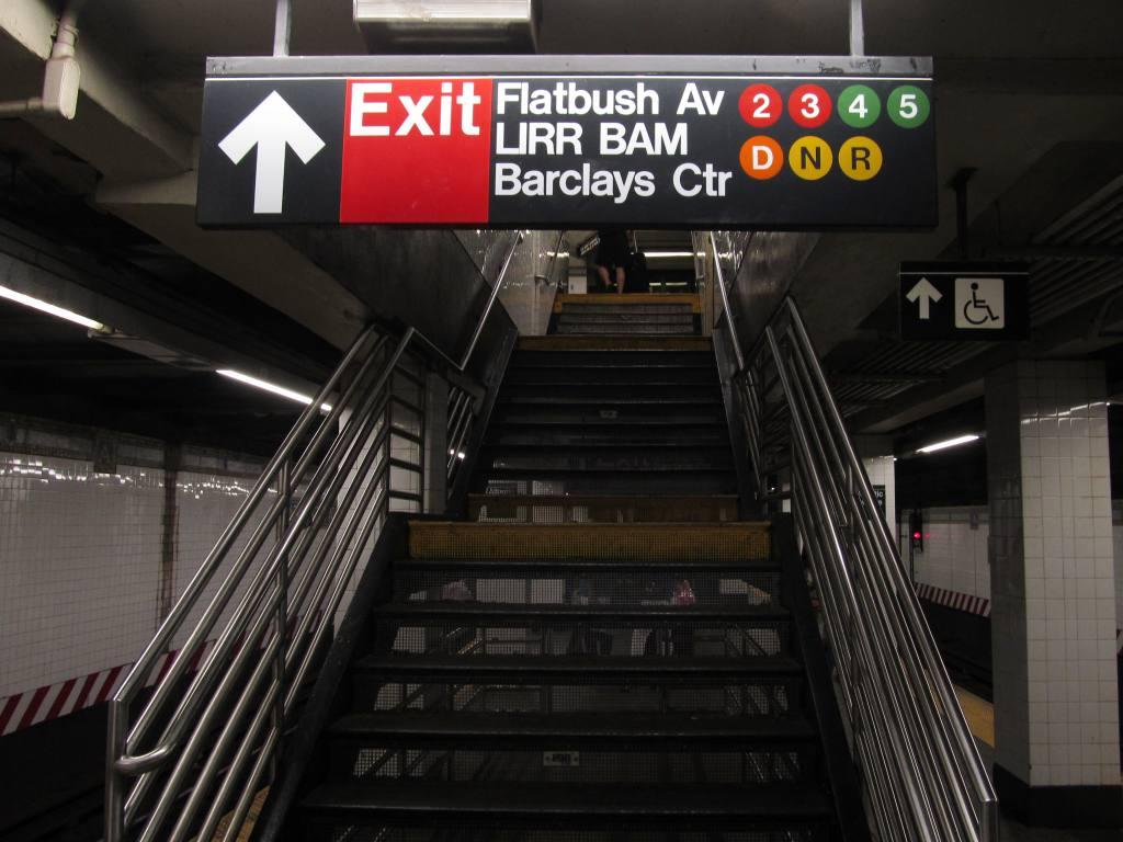 (106k, 1024x768)<br><b>Country:</b> United States<br><b>City:</b> New York<br><b>System:</b> New York City Transit<br><b>Line:</b> BMT Brighton Line<br><b>Location:</b> Atlantic Avenue<br><b>Photo by:</b> Robbie Rosenfeld<br><b>Date:</b> 7/22/2012<br><b>Notes:</b> Transfer/exit to Barclays Center<br><b>Viewed (this week/total):</b> 2 / 1746