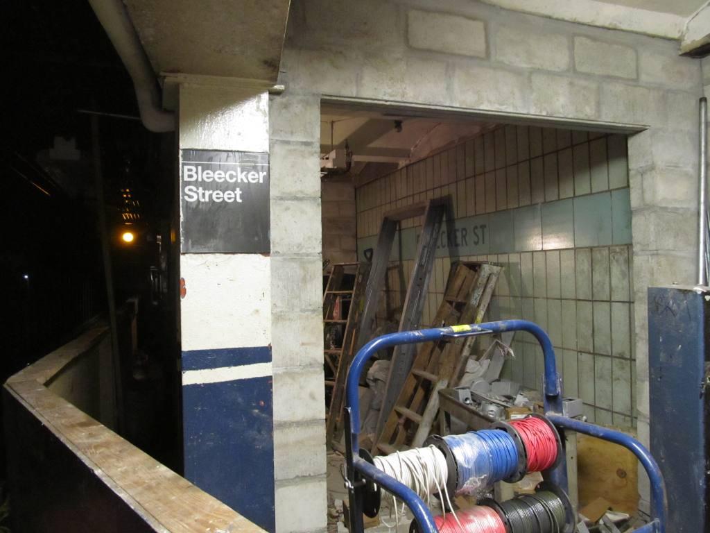 (96k, 1024x768)<br><b>Country:</b> United States<br><b>City:</b> New York<br><b>System:</b> New York City Transit<br><b>Line:</b> IRT East Side Line<br><b>Location:</b> Bleecker Street<br><b>Photo by:</b> Robbie Rosenfeld<br><b>Date:</b> 7/22/2012<br><b>Notes:</b> Northbound platform north end (being closed off).<br><b>Viewed (this week/total):</b> 1 / 2054
