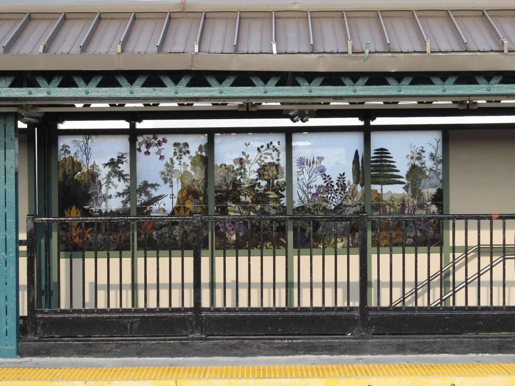 (149k, 1024x768)<br><b>Country:</b> United States<br><b>City:</b> New York<br><b>System:</b> New York City Transit<br><b>Line:</b> BMT West End Line<br><b>Location:</b> 18th Avenue<br><b>Photo by:</b> Robbie Rosenfeld<br><b>Date:</b> 8/13/2012<br><b>Artwork:</b> <i>Bensonhurst Gardens</i>, Francesco Simeti, 2012<br><b>Viewed (this week/total):</b> 1 / 1960