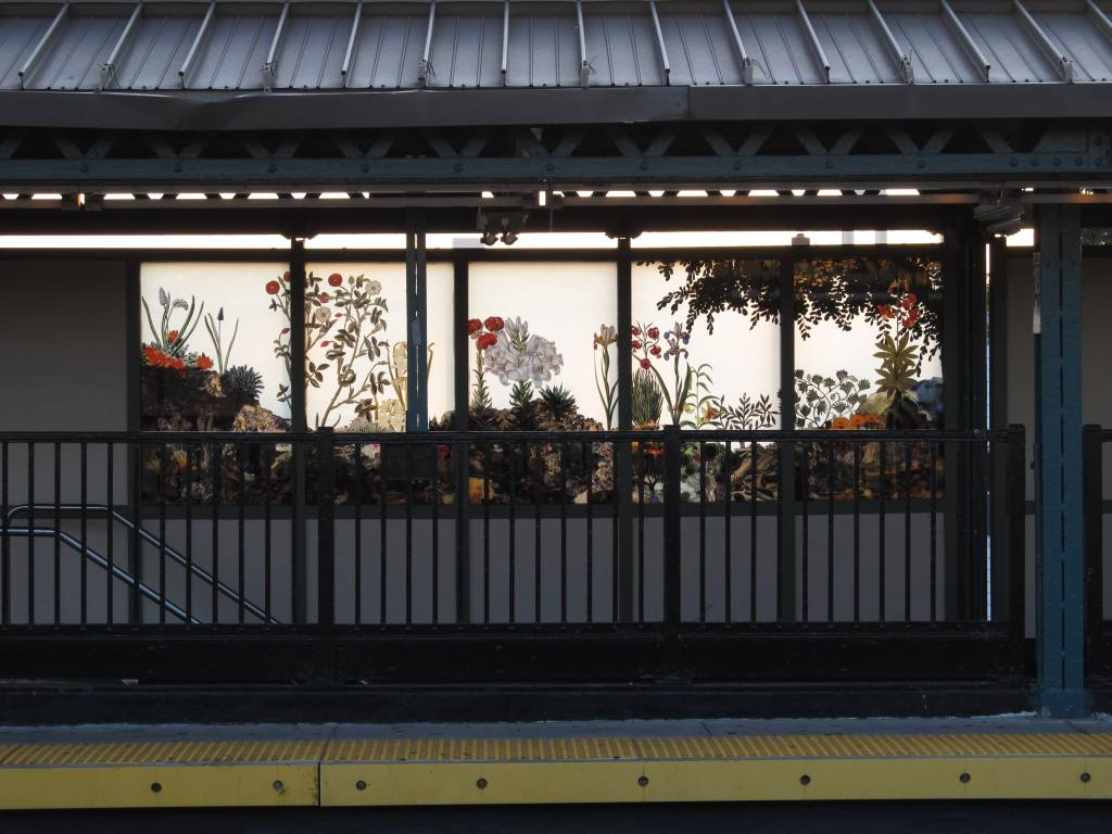(108k, 1024x768)<br><b>Country:</b> United States<br><b>City:</b> New York<br><b>System:</b> New York City Transit<br><b>Line:</b> BMT West End Line<br><b>Location:</b> 18th Avenue<br><b>Photo by:</b> Robbie Rosenfeld<br><b>Date:</b> 8/13/2012<br><b>Artwork:</b> <i>Bensonhurst Gardens</i>, Francesco Simeti, 2012<br><b>Viewed (this week/total):</b> 2 / 1534
