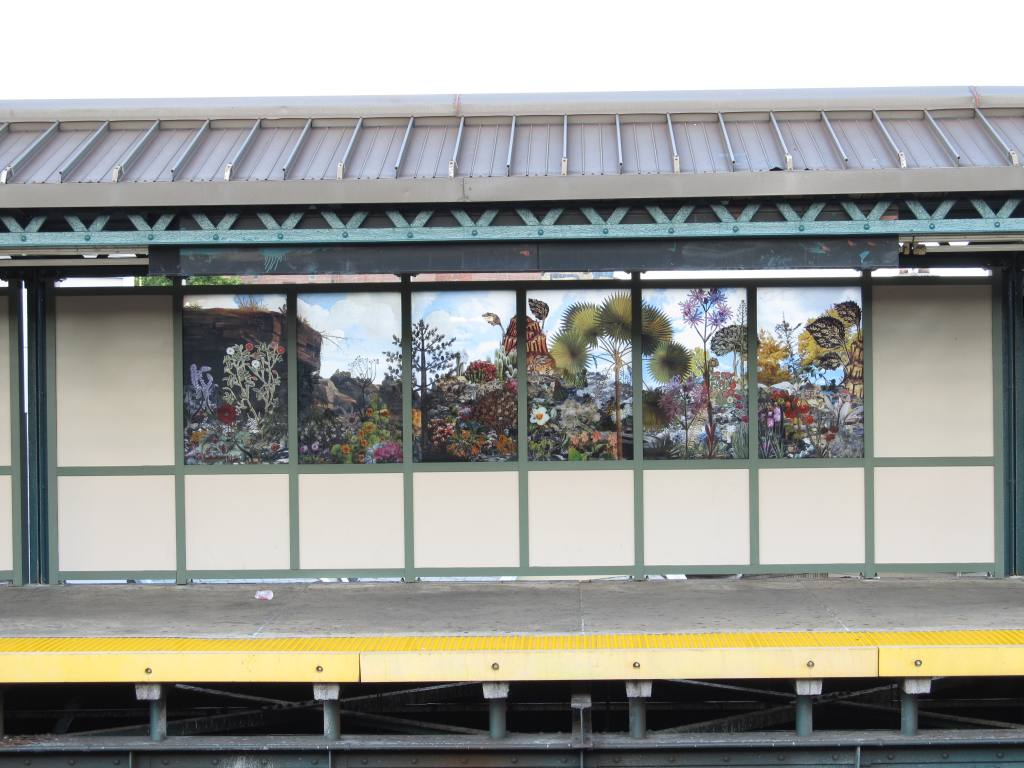 (115k, 1024x768)<br><b>Country:</b> United States<br><b>City:</b> New York<br><b>System:</b> New York City Transit<br><b>Line:</b> BMT West End Line<br><b>Location:</b> 18th Avenue<br><b>Photo by:</b> Robbie Rosenfeld<br><b>Date:</b> 8/13/2012<br><b>Artwork:</b> <i>Bensonhurst Gardens</i>, Francesco Simeti, 2012<br><b>Viewed (this week/total):</b> 3 / 1940