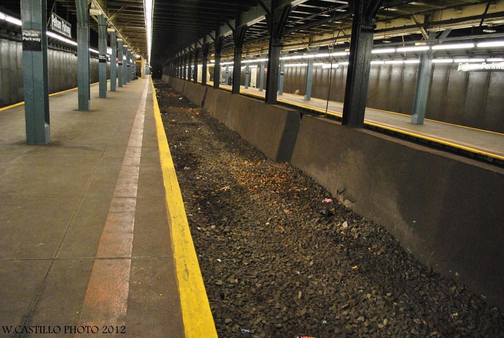 (349k, 1024x687)<br><b>Country:</b> United States<br><b>City:</b> New York<br><b>System:</b> New York City Transit<br><b>Line:</b> IRT Dyre Ave. Line<br><b>Location:</b> Pelham Parkway<br><b>Photo by:</b> Wilfredo Castillo<br><b>Date:</b> 8/8/2012<br><b>Notes:</b> Former express trackway.<br><b>Viewed (this week/total):</b> 2 / 2375
