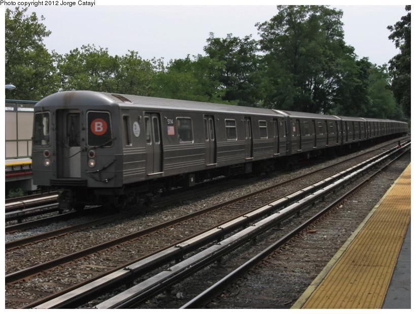 (227k, 820x620)<br><b>Country:</b> United States<br><b>City:</b> New York<br><b>System:</b> New York City Transit<br><b>Line:</b> BMT Brighton Line<br><b>Location:</b> Avenue M<br><b>Route:</b> B<br><b>Car:</b> R-68A (Kawasaki, 1988-1989) 5114 <br><b>Photo by:</b> Jorge Catayi<br><b>Date:</b> 8/8/2012<br><b>Viewed (this week/total):</b> 2 / 1186