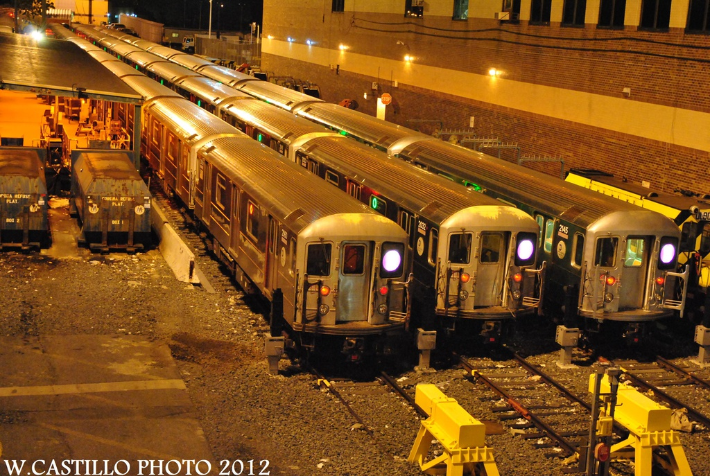 (417k, 1024x687)<br><b>Country:</b> United States<br><b>City:</b> New York<br><b>System:</b> New York City Transit<br><b>Location:</b> Corona Yard<br><b>Car:</b> R-62A (Bombardier, 1984-1987) 2050/2032/2145 <br><b>Photo by:</b> Wilfredo Castillo<br><b>Date:</b> 8/14/2012<br><b>Viewed (this week/total):</b> 1 / 942