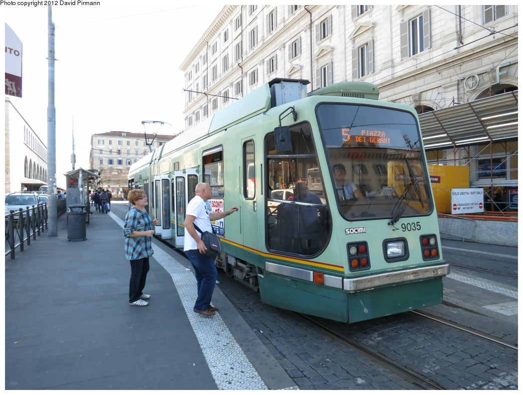 (337k, 1044x788)<br><b>Country:</b> Italy<br><b>City:</b> Rome<br><b>System:</b> ATAC<br><b>Location:</b> Termini<br><b>Route:</b> 5<br><b>Car:</b> Rome Double-End (Socimi, 1990) 9035 <br><b>Photo by:</b> David Pirmann<br><b>Date:</b> 9/15/2012<br><b>Viewed (this week/total):</b> 0 / 460