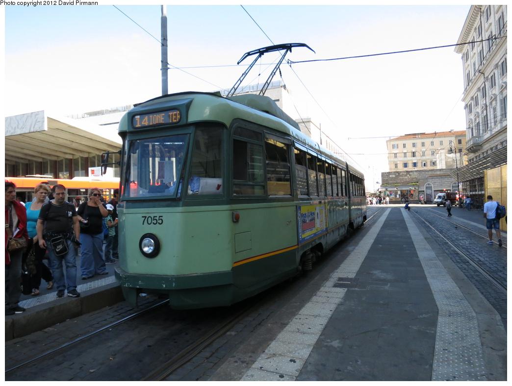 (284k, 1044x788)<br><b>Country:</b> Italy<br><b>City:</b> Rome<br><b>System:</b> ATAC<br><b>Location:</b> Termini<br><b>Route:</b> 14<br><b>Car:</b> Rome 6-Axle (Stanga, 1949-50) 7055 <br><b>Photo by:</b> David Pirmann<br><b>Date:</b> 9/15/2012<br><b>Viewed (this week/total):</b> 0 / 536