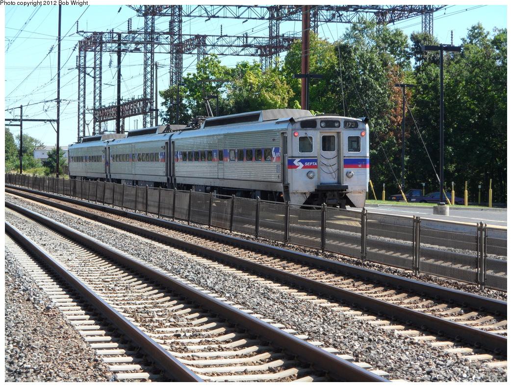(567k, 1044x788)<br><b>Country:</b> United States<br><b>City:</b> Philadelphia, PA<br><b>System:</b> SEPTA Regional Rail<br><b>Line:</b> SEPTA R7<br><b>Location:</b> Cornwells Heights<br><b>Car:</b> SEPTA Silverliner IV (GE, 1974-75) 173 <br><b>Photo by:</b> Bob Wright<br><b>Date:</b> 9/15/2012<br><b>Notes:</b> Outbound Trenton train at Cornwells Heights.<br><b>Viewed (this week/total):</b> 2 / 590
