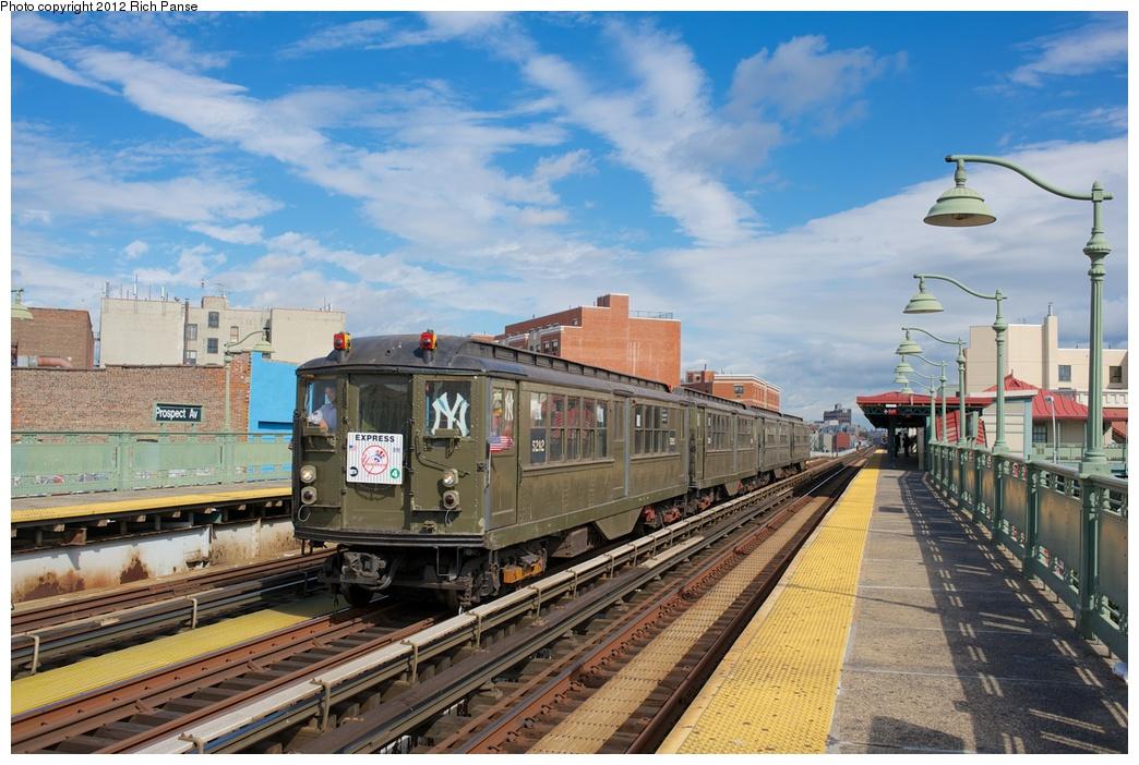 (296k, 1044x702)<br><b>Country:</b> United States<br><b>City:</b> New York<br><b>System:</b> New York City Transit<br><b>Line:</b> IRT White Plains Road Line<br><b>Location:</b> Prospect Avenue<br><b>Route:</b> Fan Trip<br><b>Car:</b> Low-V (Museum Train) 5292 <br><b>Photo by:</b> Richard Panse<br><b>Date:</b> 10/13/2012<br><b>Viewed (this week/total):</b> 0 / 1576