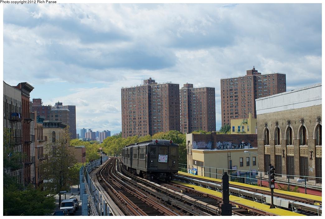 (294k, 1044x703)<br><b>Country:</b> United States<br><b>City:</b> New York<br><b>System:</b> New York City Transit<br><b>Line:</b> IRT White Plains Road Line<br><b>Location:</b> Prospect Avenue<br><b>Route:</b> Fan Trip<br><b>Car:</b> Low-V (Museum Train) 5443 <br><b>Photo by:</b> Richard Panse<br><b>Date:</b> 10/13/2012<br><b>Viewed (this week/total):</b> 1 / 1453