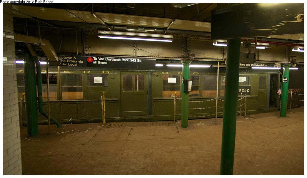 (216k, 1044x605)<br><b>Country:</b> United States<br><b>City:</b> New York<br><b>System:</b> New York City Transit<br><b>Line:</b> IRT West Side Line<br><b>Location:</b> South Ferry (Outer Loop Station)<br><b>Route:</b> Fan Trip<br><b>Car:</b> Low-V (Museum Train) 5292 <br><b>Photo by:</b> Richard Panse<br><b>Date:</b> 10/13/2012<br><b>Viewed (this week/total):</b> 0 / 3068