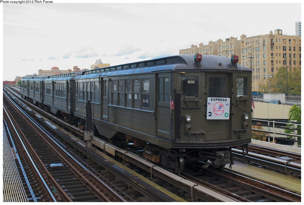 (265k, 1044x703)<br><b>Country:</b> United States<br><b>City:</b> New York<br><b>System:</b> New York City Transit<br><b>Line:</b> IRT Woodlawn Line<br><b>Location:</b> 161st Street-River Avenue (Yankee Stadium)<br><b>Route:</b> Fan Trip<br><b>Car:</b> Low-V (Museum Train) 5443 <br><b>Photo by:</b> Richard Panse<br><b>Date:</b> 10/13/2012<br><b>Viewed (this week/total):</b> 0 / 1221
