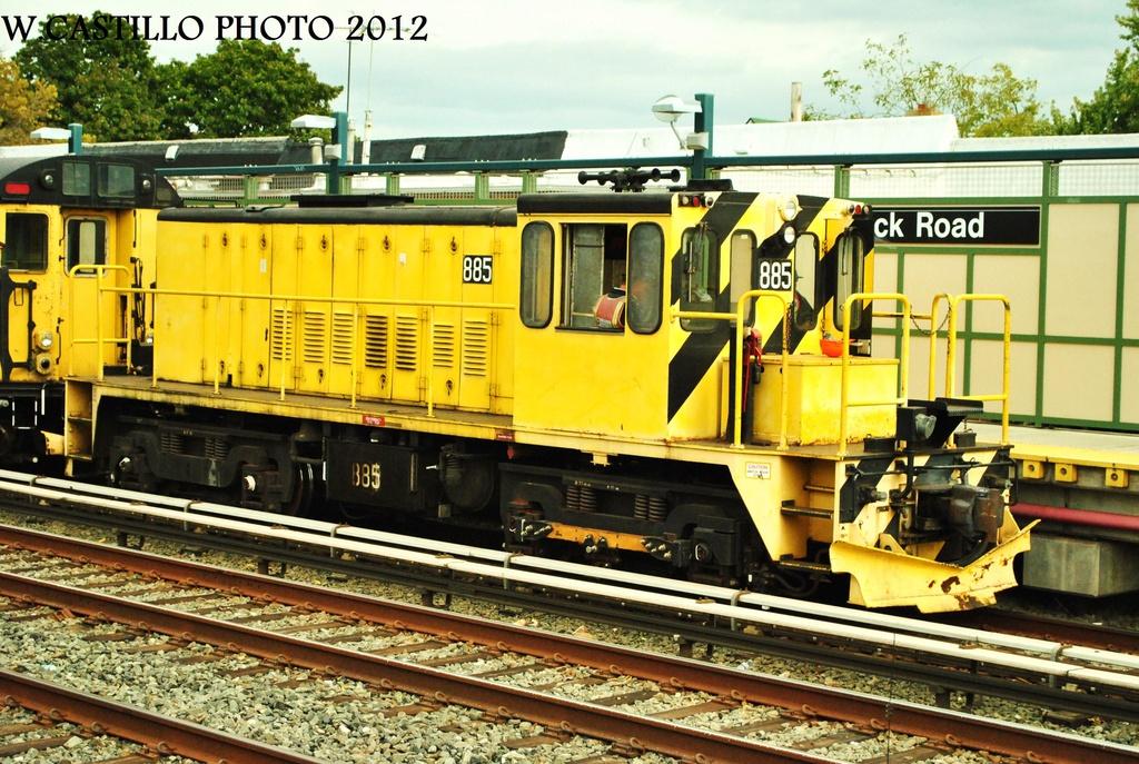 (391k, 1024x687)<br><b>Country:</b> United States<br><b>City:</b> New York<br><b>System:</b> New York City Transit<br><b>Line:</b> BMT Brighton Line<br><b>Location:</b> Neck Road<br><b>Route:</b> Work Service<br><b>Car:</b> R-77 Locomotive 885 <br><b>Photo by:</b> Wilfredo Castillo<br><b>Date:</b> 10/15/2012<br><b>Viewed (this week/total):</b> 0 / 1081