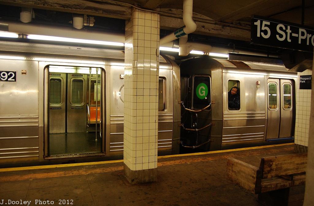 (327k, 1024x673)<br><b>Country:</b> United States<br><b>City:</b> New York<br><b>System:</b> New York City Transit<br><b>Line:</b> IND Crosstown Line<br><b>Location:</b> 15th Street/Prospect Park<br><b>Route:</b> G<br><b>Car:</b> R-68 (Westinghouse-Amrail, 1986-1988) 2792 <br><b>Photo by:</b> John Dooley<br><b>Date:</b> 11/7/2012<br><b>Viewed (this week/total):</b> 1 / 1987