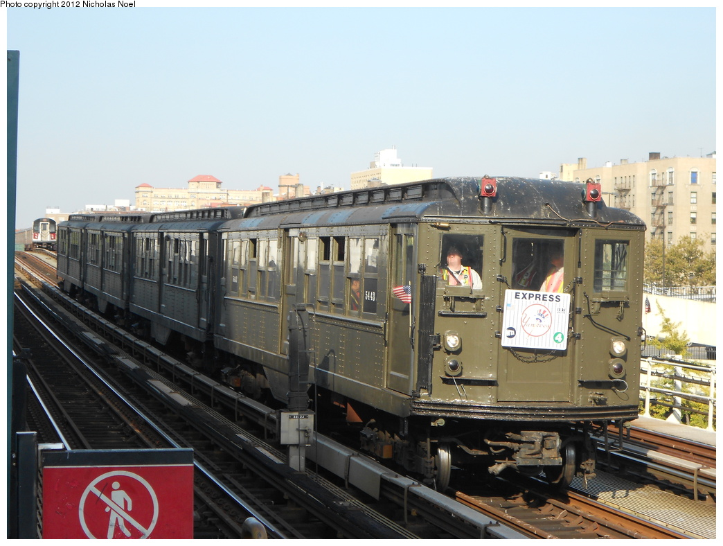 (364k, 1044x788)<br><b>Country:</b> United States<br><b>City:</b> New York<br><b>System:</b> New York City Transit<br><b>Line:</b> IRT Woodlawn Line<br><b>Location:</b> 161st Street-River Avenue (Yankee Stadium)<br><b>Route:</b> Museum Train Service<br><b>Car:</b> Low-V (Museum Train) 5443 <br><b>Photo by:</b> Nicholas Noel<br><b>Date:</b> 10/14/2012<br><b>Viewed (this week/total):</b> 8 / 1226