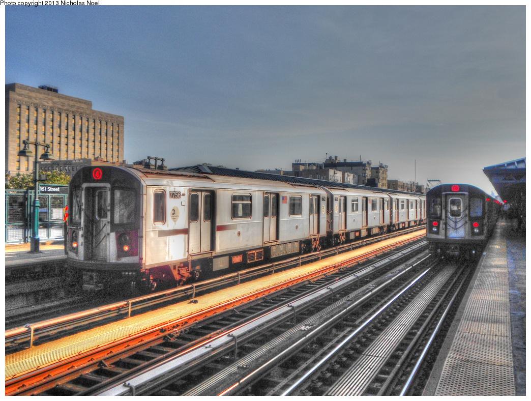 (349k, 1044x788)<br><b>Country:</b> United States<br><b>City:</b> New York<br><b>System:</b> New York City Transit<br><b>Line:</b> IRT Woodlawn Line<br><b>Location:</b> 161st Street-River Avenue (Yankee Stadium)<br><b>Route:</b> 4<br><b>Car:</b> R-142A (Supplemental Order, Kawasaki, 2003-2004) 7756 <br><b>Photo by:</b> Nicholas Noel<br><b>Date:</b> 10/14/2012<br><b>Viewed (this week/total):</b> 10 / 1662