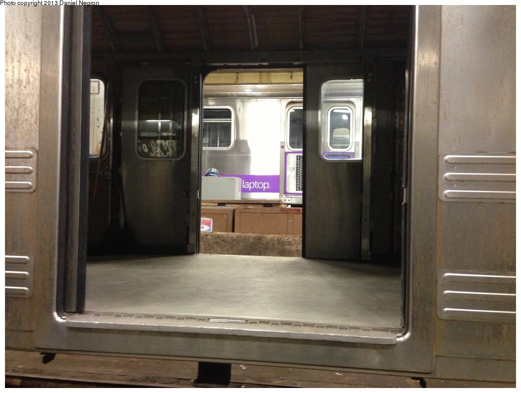 (261k, 1044x788)<br><b>Country:</b> United States<br><b>City:</b> New York<br><b>System:</b> New York City Transit<br><b>Location:</b> 207th Street Shop<br><b>Car:</b> R-110A (Kawasaki, 1992) 8005 <br><b>Photo by:</b> Daniel Negron<br><b>Date:</b> 2/14/2013<br><b>Notes:</b> R-110A 8001-8005 is being prepped for conversion to new reach train (for flood cleanup).<br><b>Viewed (this week/total):</b> 0 / 1936