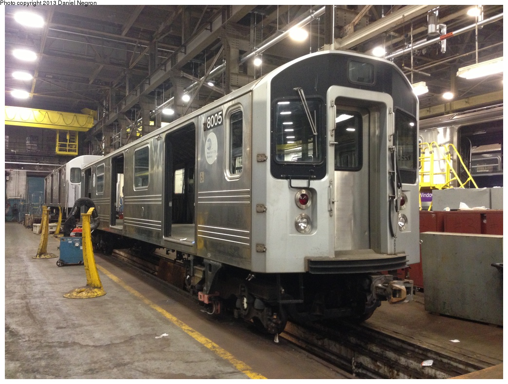 (315k, 1044x788)<br><b>Country:</b> United States<br><b>City:</b> New York<br><b>System:</b> New York City Transit<br><b>Location:</b> 207th Street Shop<br><b>Car:</b> R-110A (Kawasaki, 1992) 8005 <br><b>Photo by:</b> Daniel Negron<br><b>Date:</b> 2/14/2013<br><b>Notes:</b> R-110A 8001-8005 is being prepped for conversion to new reach train (for flood cleanup).<br><b>Viewed (this week/total):</b> 0 / 5159