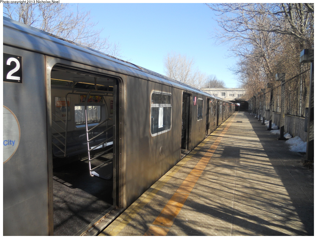 (407k, 1044x788)<br><b>Country:</b> United States<br><b>City:</b> New York<br><b>System:</b> New York City Transit<br><b>Line:</b> IRT Dyre Ave. Line<br><b>Location:</b> Gun Hill Road<br><b>Route:</b> 5<br><b>Car:</b> R-142 or R-142A (Number Unknown)  <br><b>Photo by:</b> Nicholas Noel<br><b>Date:</b> 2/18/2013<br><b>Viewed (this week/total):</b> 5 / 1613
