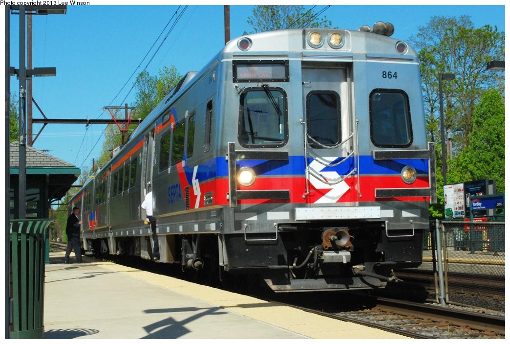 (329k, 1044x703)<br><b>Country:</b> United States<br><b>City:</b> Philadelphia, PA<br><b>System:</b> SEPTA Regional Rail<br><b>Line:</b> SEPTA R3<br><b>Location:</b> Yardley<br><b>Car:</b> SEPTA Silverliner V 864 <br><b>Photo by:</b> Lee Winson<br><b>Date:</b> 5/5/2013<br><b>Notes:</b> SEPTA West Trenton Line, Yardley, Silverliner V #864<br><b>Viewed (this week/total):</b> 1 / 567
