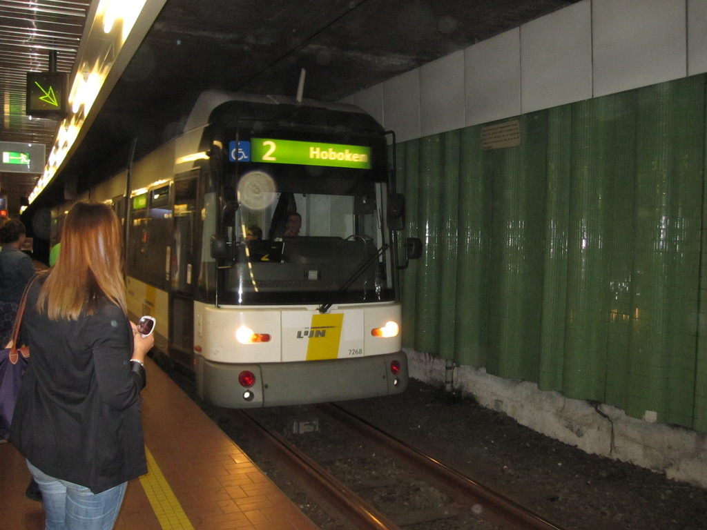 (173k, 1024x768)<br><b>Country:</b> Belgium<br><b>City:</b> Antwerp<br><b>System:</b> De Lijn<br><b>Location:</b> Groenplaats<br><b>Route:</b> 2<br><b>Car:</b> Antwerp Tram 7268 <br><b>Collection of:</b> Collection of nycsubway.org<br><b>Date:</b> 5/5/2011<br><b>Notes:</b> #2 for Hoboken, a 4-part articulated streetcar, arriving and stopping at the green arrow. I didn't notice whether there were other places where an arrow could appear according to the length of the streetcar/train. Looks like it, though, with that style of illumination.<br><b>Viewed (this week/total):</b> 1 / 601