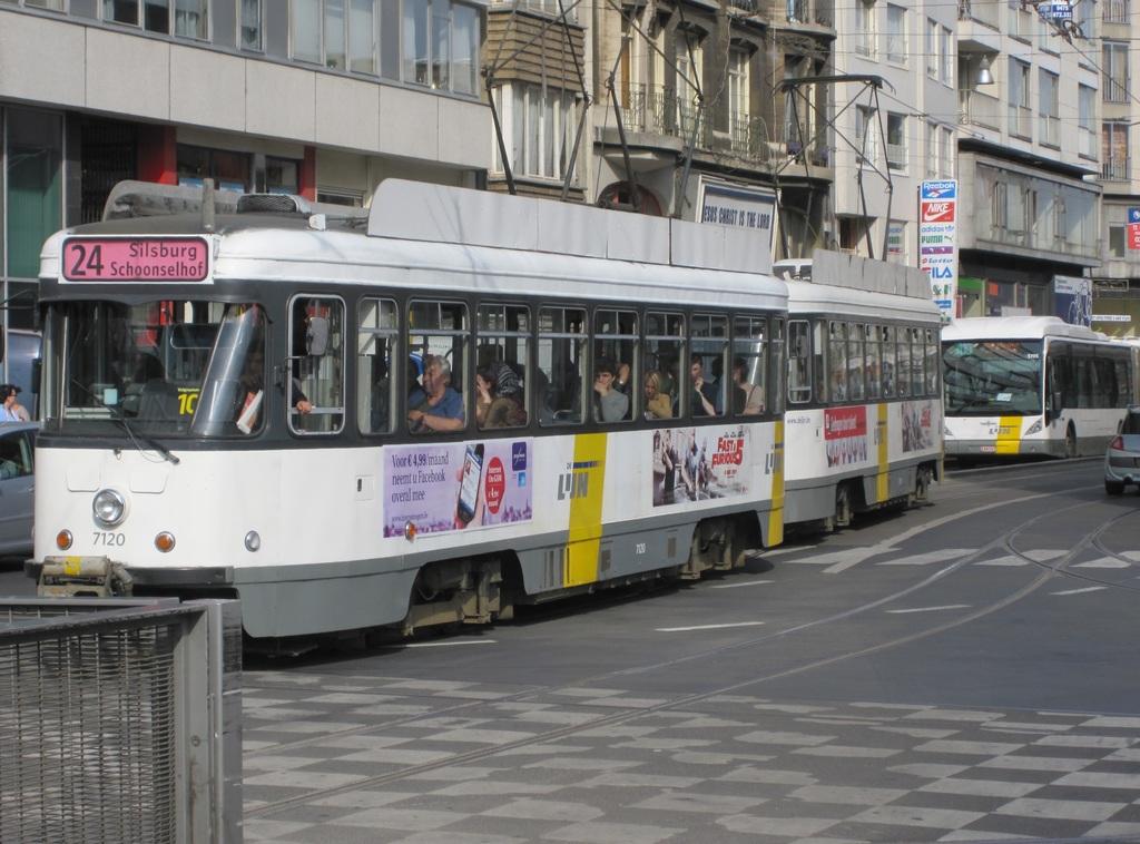 (258k, 1024x758)<br><b>Country:</b> Belgium<br><b>City:</b> Antwerp<br><b>System:</b> De Lijn<br><b>Location:</b> Koningin Astridplein<br><b>Route:</b> 24<br><b>Car:</b> Antwerp Tram 7120 <br><b>Collection of:</b> Collection of nycsubway.org<br><b>Date:</b> 5/5/2011<br><b>Notes:</b> Car 7120 leads a 2-streetcar train westbound on Carnotstraat on a #24 service from Silsburg to Schoonselhof.<br><b>Viewed (this week/total):</b> 0 / 416