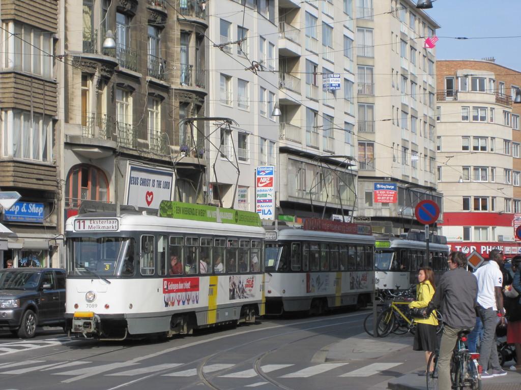 (262k, 1024x768)<br><b>Country:</b> Belgium<br><b>City:</b> Antwerp<br><b>System:</b> De Lijn<br><b>Location:</b> Koningin Astridplein<br><b>Route:</b> 11<br><b>Car:</b> Antwerp Tram 7089 <br><b>Collection of:</b> Collection of nycsubway.org<br><b>Date:</b> 5/5/2011<br><b>Notes:</b> Car 7089 leads a 2-streetcar train westbound on Carnotstraat on a #11 service from Eksterlaar to Melkmarkt; behind is single streetcar 7113, a #10 from Deurne to Melkmarkt.<br><b>Viewed (this week/total):</b> 0 / 515