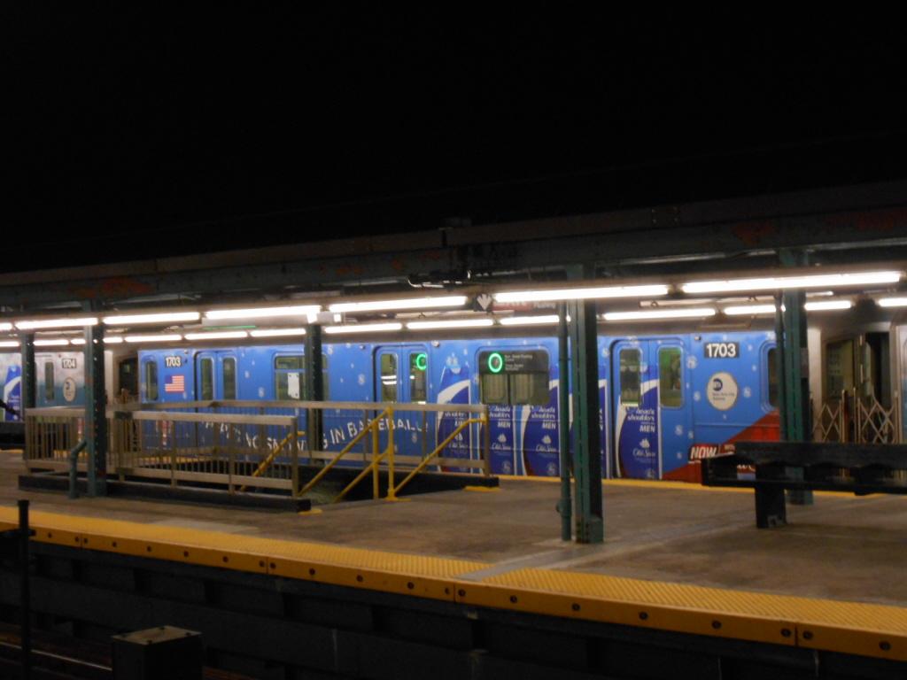 (316k, 1024x768)<br><b>Country:</b> United States<br><b>City:</b> New York<br><b>System:</b> New York City Transit<br><b>Line:</b> IRT Flushing Line<br><b>Location:</b> Willets Point/Mets (fmr. Shea Stadium)<br><b>Route:</b> 7<br><b>Car:</b> R-62A (Bombardier, 1984-1987) 1703 <br><b>Photo by:</b> Gary Chatterton<br><b>Date:</b> 6/11/2013<br><b>Viewed (this week/total):</b> 2 / 1492