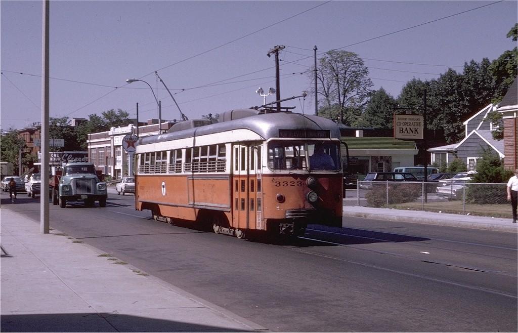 (189k, 1024x658)<br><b>Country:</b> United States<br><b>City:</b> Boston, MA<br><b>System:</b> MBTA<br><b>Line:</b> MBTA Green (E)<br><b>Location:</b> Centre & Spring Park<br><b>Car:</b> MBTA/BSRy PCC Dallas Double End (Pullman-Standard, 1945) 3323 <br><b>Photo by:</b> Joe Testagrose<br><b>Date:</b> 8/13/1970<br><b>Notes:</b> Former Dallas Railway & Terminal 605<br><b>Viewed (this week/total):</b> 1 / 17460
