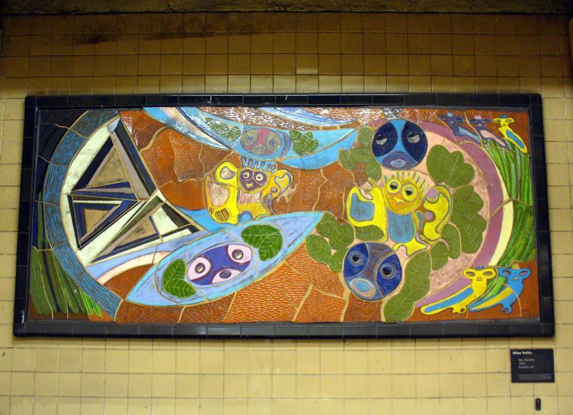 (115k, 819x594)<br><b>Country:</b> United States<br><b>City:</b> New York<br><b>System:</b> New York City Transit<br><b>Line:</b> IRT East Side Line<br><b>Location:</b> 103rd Street<br><b>Photo by:</b> Robbie Rosenfeld<br><b>Date:</b> 5/30/2006<br><b>Artwork:</b> <i>Neo-Boriken</i>, Nitza Tufino, 1990<br><b>Viewed (this week/total):</b> 11 / 4849