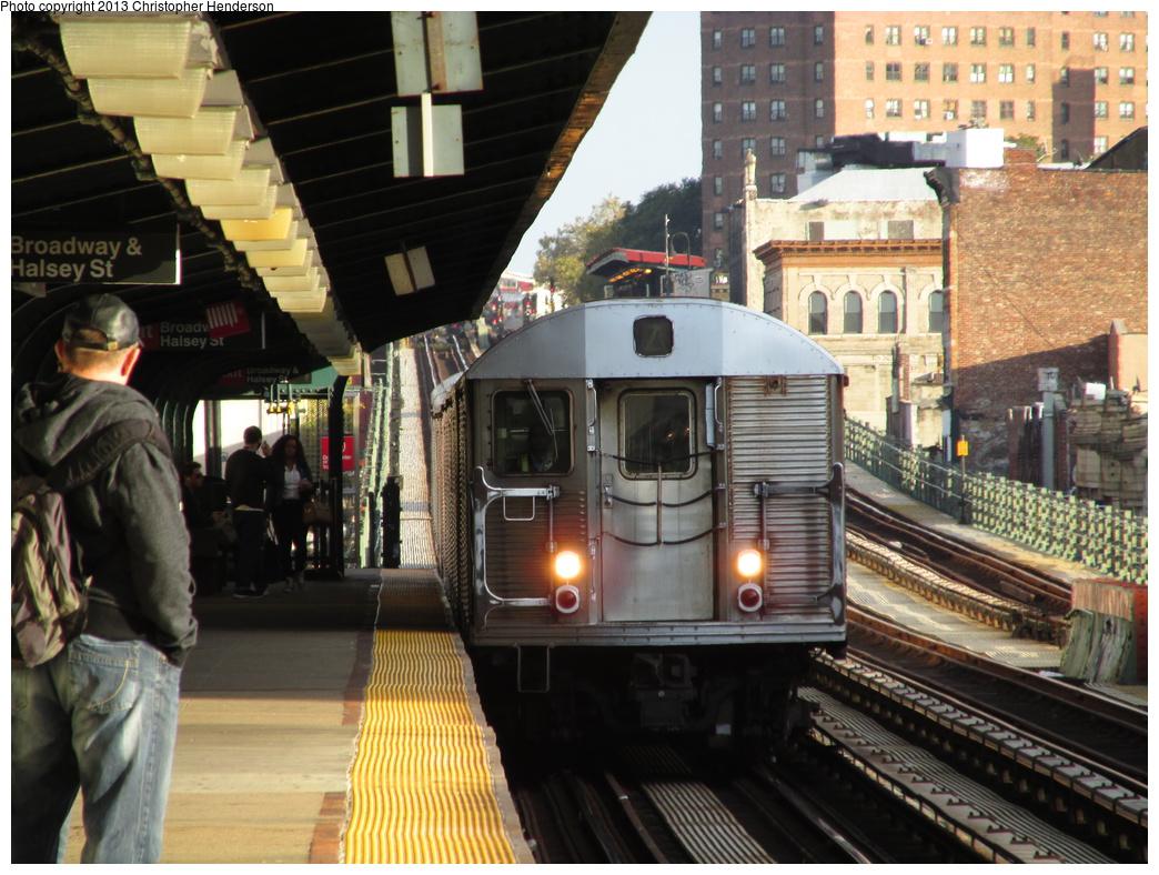 (362k, 1044x788)<br><b>Country:</b> United States<br><b>City:</b> New York<br><b>System:</b> New York City Transit<br><b>Line:</b> BMT Nassau Street-Jamaica Line<br><b>Location:</b> Halsey Street<br><b>Route:</b> Z<br><b>Car:</b> R-32 (Budd, 1964) 3770 <br><b>Photo by:</b> Christopher Henderson<br><b>Date:</b> 10/14/2013<br><b>Viewed (this week/total):</b> 17 / 1808