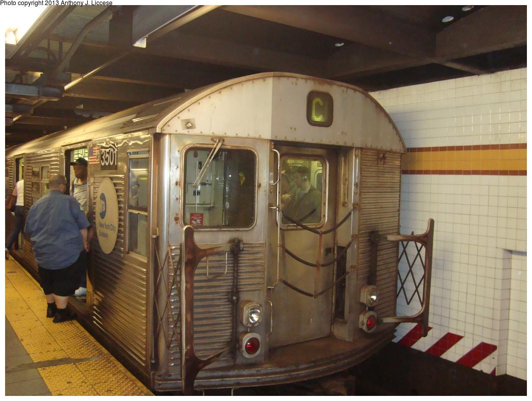 (345k, 1044x788)<br><b>Country:</b> United States<br><b>City:</b> New York<br><b>System:</b> New York City Transit<br><b>Line:</b> IND 8th Avenue Line<br><b>Location:</b> 14th Street<br><b>Route:</b> C<br><b>Car:</b> R-32 (Budd, 1964) 3501 <br><b>Photo by:</b> Anthony J. Liccese<br><b>Date:</b> 8/15/2013<br><b>Viewed (this week/total):</b> 1 / 1141