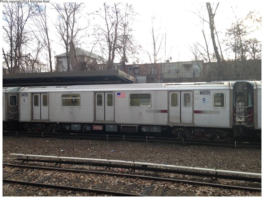(371k, 1044x788)<br><b>Country:</b> United States<br><b>City:</b> New York<br><b>System:</b> New York City Transit<br><b>Line:</b> IRT Dyre Ave. Line<br><b>Location:</b> Gun Hill Road<br><b>Route:</b> 5<br><b>Car:</b> R-142 (Option Order, Bombardier, 2002-2003) 7000 <br><b>Photo by:</b> Nicholas Noel<br><b>Date:</b> 1/19/2014<br><b>Viewed (this week/total):</b> 0 / 1929