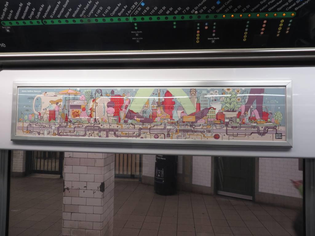 (104k, 1024x768)<br><b>Country:</b> United States<br><b>City:</b> New York<br><b>System:</b> New York City Transit<br><b>Location:</b> Subway Car Interior Art<br><b>Photo by:</b> Robbie Rosenfeld<br><b>Date:</b> 1/15/2014<br><b>Artwork:</b> <i>Living in New York</i>, James Gulliver Hancock, 2014<br><b>Viewed (this week/total):</b> 0 / 1960