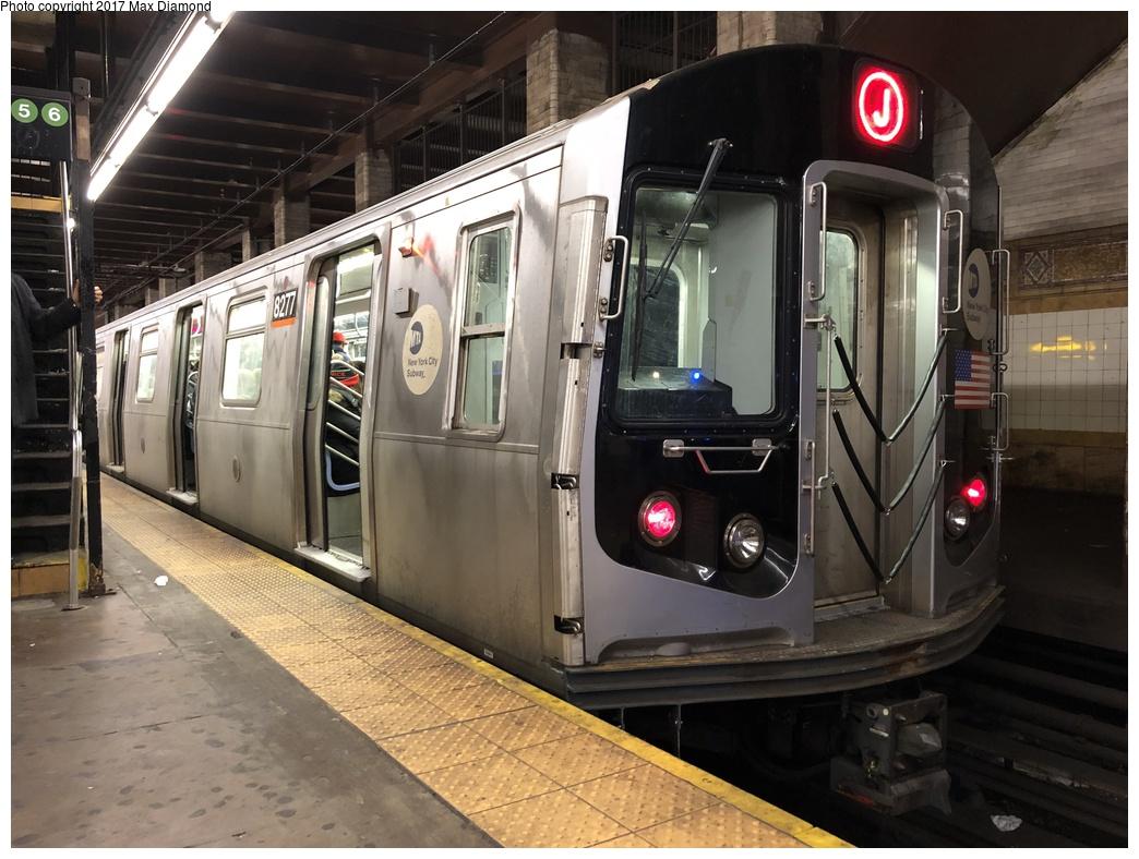 (287k, 1044x788)<br><b>Country:</b> United States<br><b>City:</b> New York<br><b>System:</b> New York City Transit<br><b>Line:</b> BMT Nassau Street-Jamaica Line<br><b>Location:</b> Chambers Street<br><b>Route:</b> J<br><b>Car:</b> R-143 (Kawasaki, 2001-2002) 8277 <br><b>Photo by:</b> Max Diamond<br><b>Date:</b> 12/12/2017<br><b>Viewed (this week/total):</b> 2 / 2445