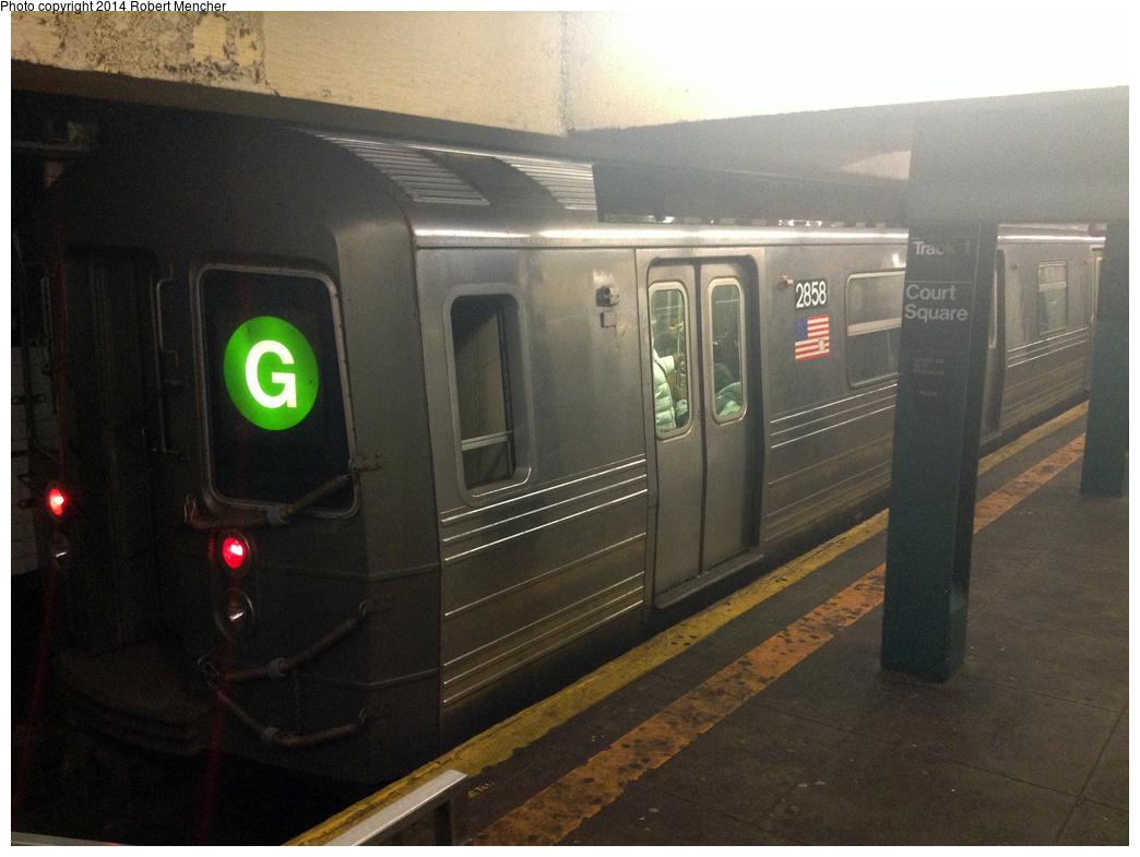 (319k, 1044x785)<br><b>Country:</b> United States<br><b>City:</b> New York<br><b>System:</b> New York City Transit<br><b>Line:</b> IND Crosstown Line<br><b>Location:</b> Court Square<br><b>Route:</b> G<br><b>Car:</b> R-68 (Westinghouse-Amrail, 1986-1988) 2858 <br><b>Photo by:</b> Robert Mencher<br><b>Date:</b> 2/4/2014<br><b>Viewed (this week/total):</b> 0 / 1711